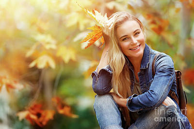 Photograph - Happy Female In Autumn Forest by Anna Om