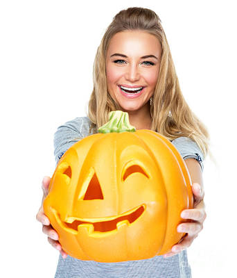 Photograph - Happy Female With Halloween Pumpkin by Anna Om