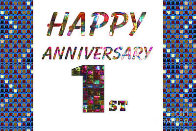 Painting - Happy First 1st Anniversary Celebrations Design On Greeting Cards T-shirts Pillows Curtains Phone   by Navin Joshi