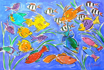 Wall Art - Painting - Happy Fish 2 by Sally Huss