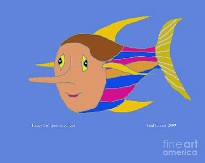 Happy Fish Goes To College Original by Fred Jinkins