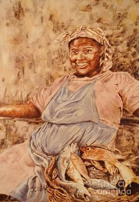 Pastel Drawing Painting - Happy Fish Seller by John Clark