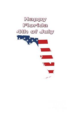 Digital Art - Happy Florida 4th Of July by Judy Hall-Folde