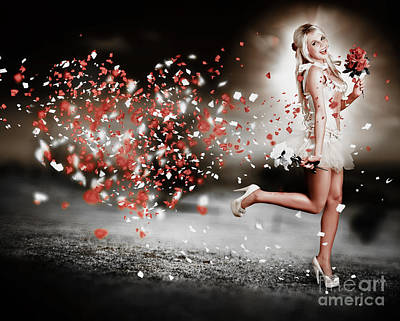 Abstract Flowers Royalty-Free and Rights-Managed Images - Happy Flower Girl In A Running Love Heart Romance by Jorgo Photography - Wall Art Gallery