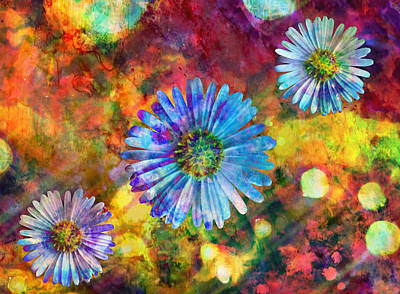 Ally Digital Art - Happy Flowers by Ally  White
