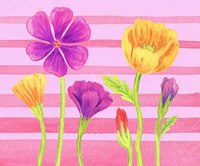 Happy Flowers In The Garden Art Print
