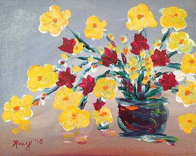 Yellow Painting - Happy Flowers by Roxy Rich