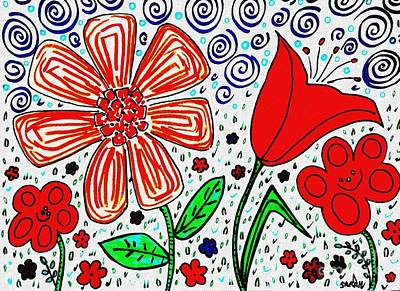 Garden Drawing - Happy Flowers by Sarah Loft