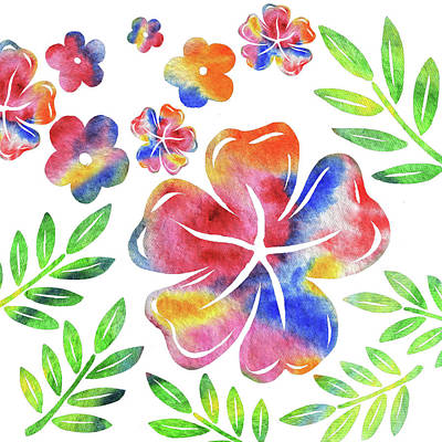 Abstract Shapes Janice Austin - Happy Flowers Watercolor Silhouettes  by Irina Sztukowski