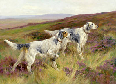 Mixed Media - Happy Four Paws English Setters by Georgiana Romanovna