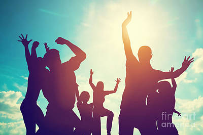 Joy Photograph - Happy Friends Family Jumping Together Having Fun by Michal Bednarek