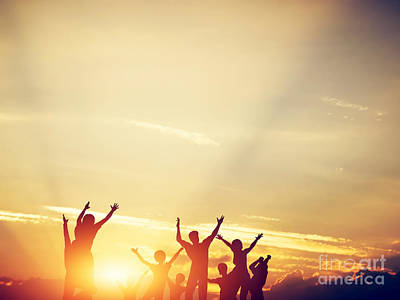 Diversity Photograph - Happy Friends Jumping Together At Sunset by Michal Bednarek