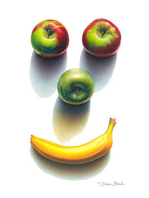 Drawing - Happy Fruit Shadows by Donna Basile