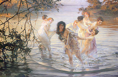 Bathing Painting - Happy Games by Paul Chabas