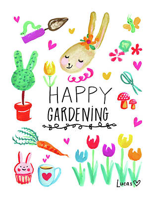 Bunnies Painting - Happy Gardening by Ashley Lucas