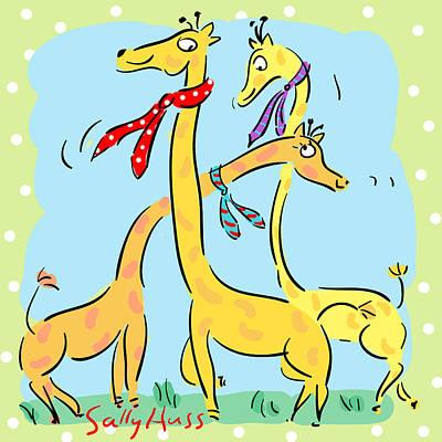 Wall Art - Painting - Happy Giraffes by Sally Huss