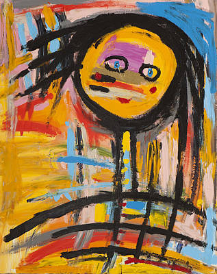 Happy Girl Abstract  Art Print by Maggis Art
