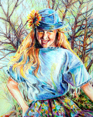 Drawing - Happy Girl by Linda Shackelford