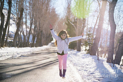 Photograph - Happy Girl Runs And Jumps Up From Happiness by Anna Om