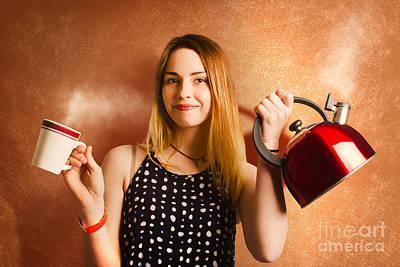 Happy Girl Serving Up Hot Coffee Beverage Art Print