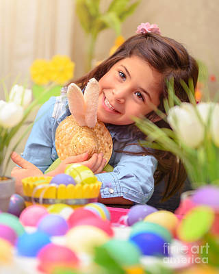 Photograph - Happy Girl With Easter Bunny Toy by Anna Om