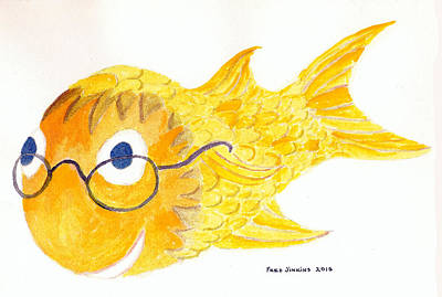 Happy Golden Fish Art Print