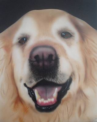 Painting - Happy Golden Retriever by Bas Hollander