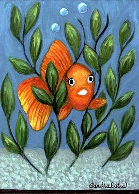 Happy Goldfish Art Print by Sandra Estes