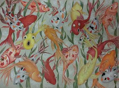 Goldfish Drawing - Happy Golds by Karleigh Clark