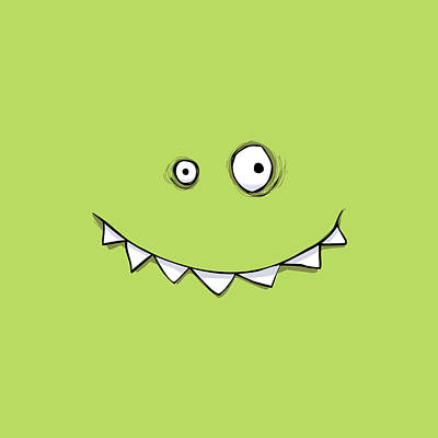 Green Monster Drawing - Happy Green Monster by Dean Murray