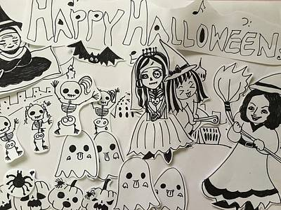 Drawing - Happy Halloween by Angela Lao