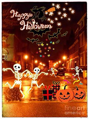Mixed Media - Happy Halloween At Hope Street by Joan-Violet Stretch