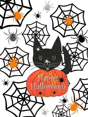 Digital Art - Happy Halloween Black Cat by Kathleen Sartoris