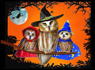 Digital Art - Happy Halloween From Owl Of Us by Glenn Holbrook