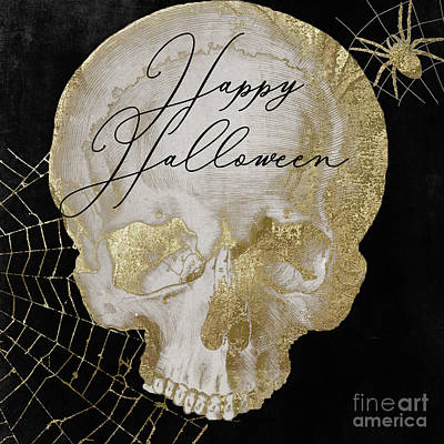 Painting - Happy Halloween Golden Skull by Mindy Sommers