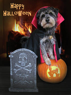 Kim Digital Art - Halloween Vampire Dog by Kim Mobley