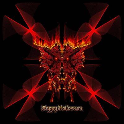 Digital Art - Happy Halloween Sinedot Fractal Fire Demon by Xzendor7