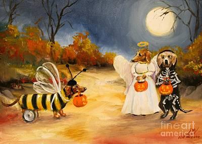 Painting - Happy Halloweenies Dachshund Art by Stella Violano