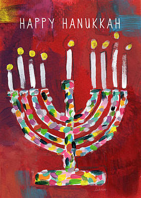 Happy Hanukkah Colorful Menorah Card- Art By Linda Woods Print by Linda Woods