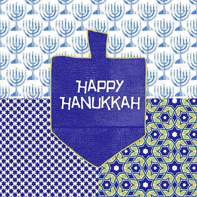 Happy Hanukkah Dreidel 1- Art By Linda Woods Art Print