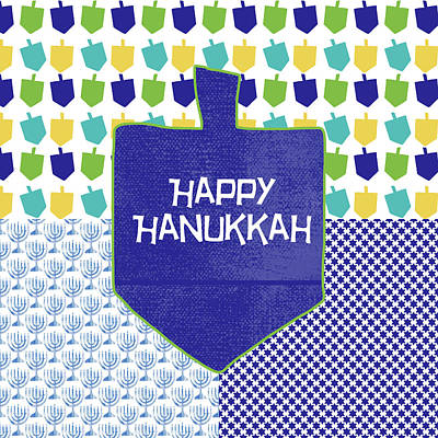 Happy Hanukkah Dreidel 2- Art By Linda Woods Art Print by Linda Woods