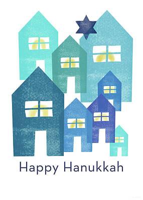 Happy Hanukkah Houses- Art By Linda Woods Art Print