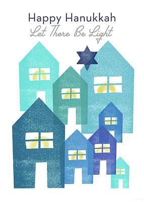 Happy Hanukkah Light - Art By Linda Woods Art Print
