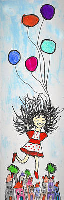 Floating Girl Mixed Media - Happy Happy Happy by Marlena Colino Leach