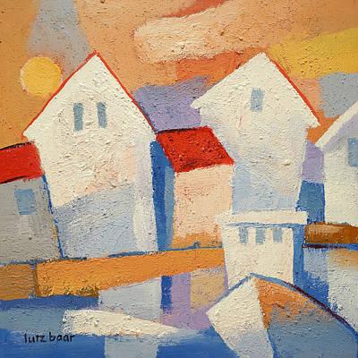 Fishing Village Painting - Happy Harbour by Lutz Baar