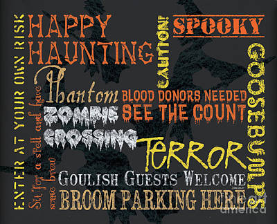 Zombies Painting - Happy Haunting Typography by Debbie DeWitt