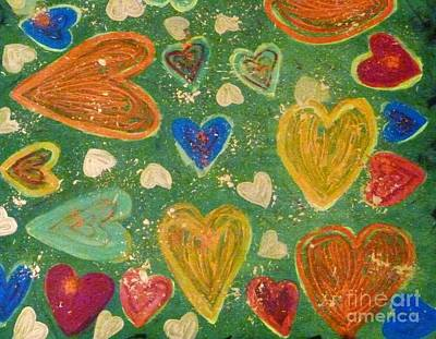 Standard Tshirts Painting - Happy Hearts 2015 by Lesley and Patrick Francis