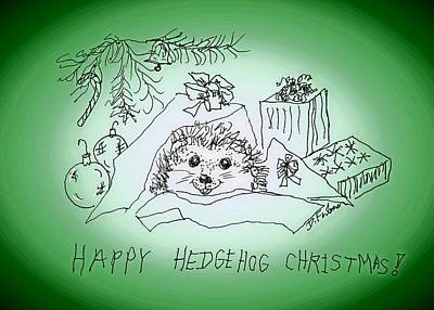 Drawing - Happy Hedgehog Christmas by Denise Fulmer