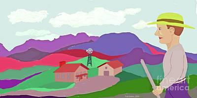 Happy Highland Farm Art Print by Fred Jinkins