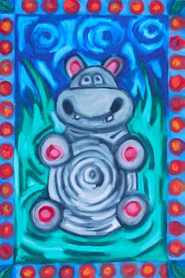 Happy Hippo Original by Elizabeth Dawson